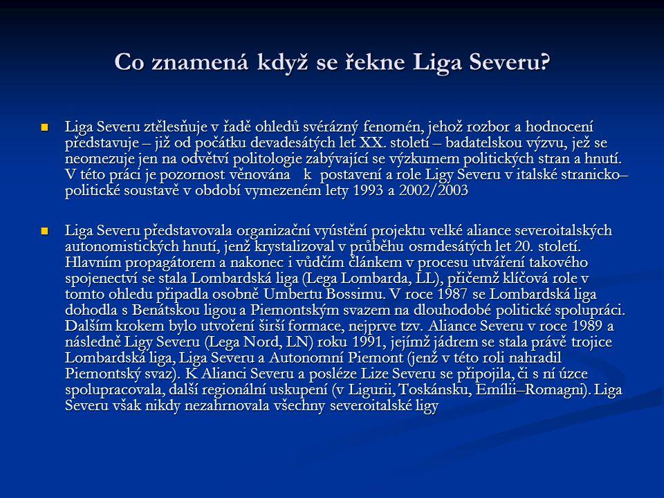 Liga Severu, postrádající viditelných politických úspěchů a zaznamenávající novou vlnu vnitřních rozkolů a štěpení, se v závěru devadesátých let XX.