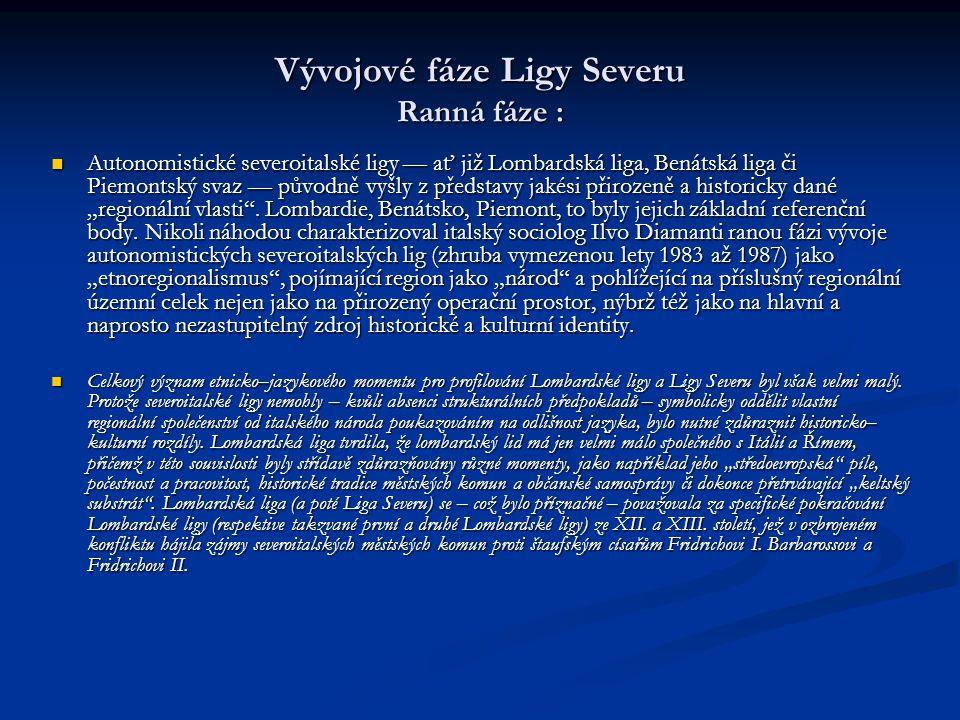 Vývojové fáze Ligy Severu Ranná fáze : Autonomistické severoitalské ligy –– ať již Lombardská liga, Benátská liga či Piemontský svaz –– původně vyšly