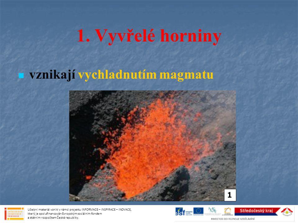 VZNIK USAZENÝCH HORNIN zpočátku je usazená hornina nezpevněná => časem dochází ke zpevnění vlivem tlaku výše vrstev => vzniká při tom tmel spojující jednotlivé částice tmel chemické látky – uhličitan vápenatý, oxid křemičitý jílové minerály Učební materiál vznikl v rámci projektu INFORMACE – INSPIRACE – INOVACE, který je spolufinancován Evropským sociálním fondem a státním rozpočtem České republiky.