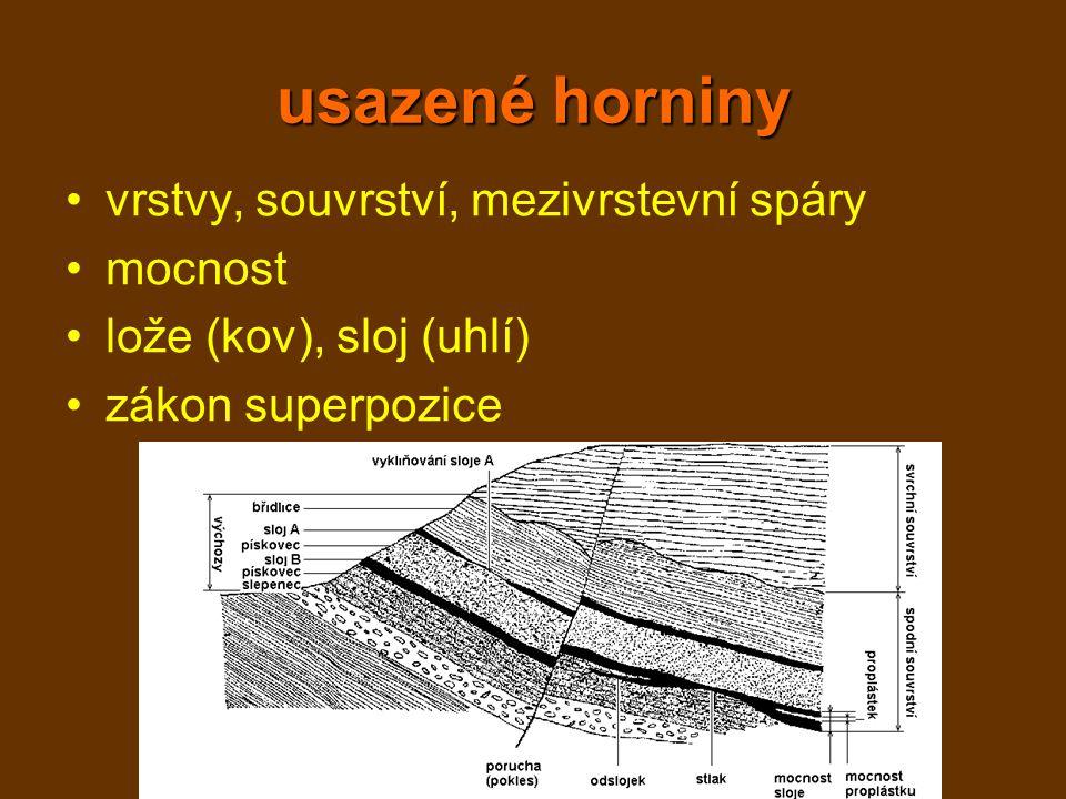 usazené horniny vrstvy, souvrství, mezivrstevní spáry mocnost lože (kov), sloj (uhlí) zákon superpozice