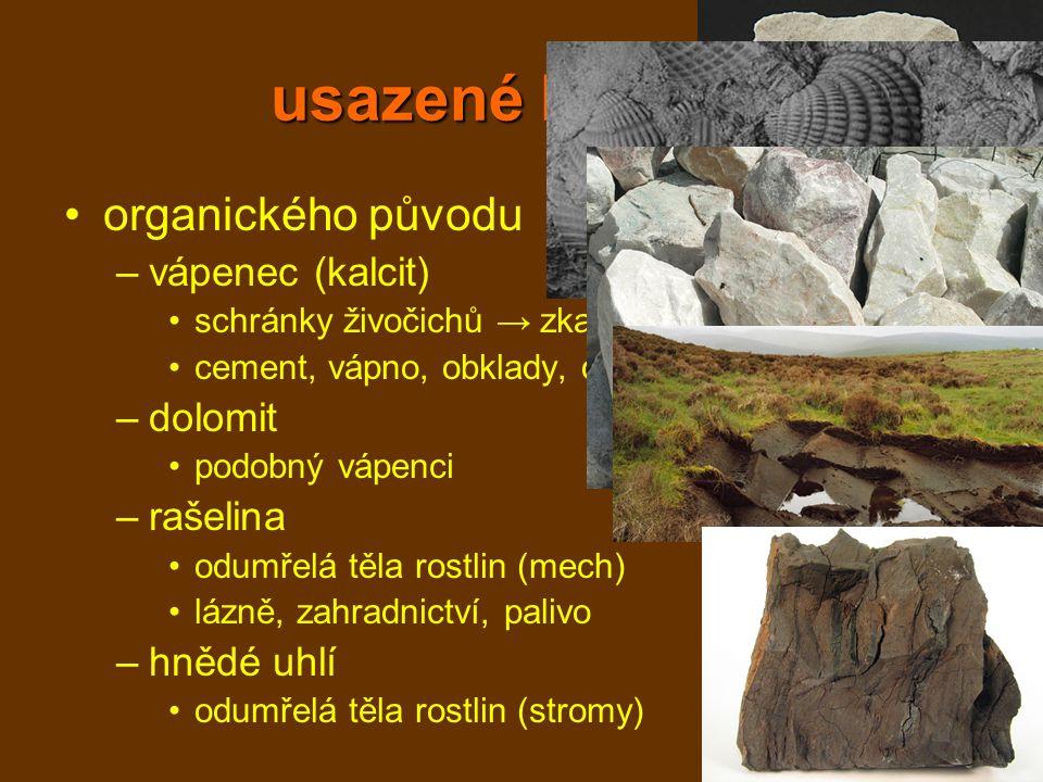 usazené horniny organického původu –vápenec (kalcit) schránky živočichů → zkameněliny cement, vápno, obklady, dlažba –dolomit podobný vápenci –rašelin