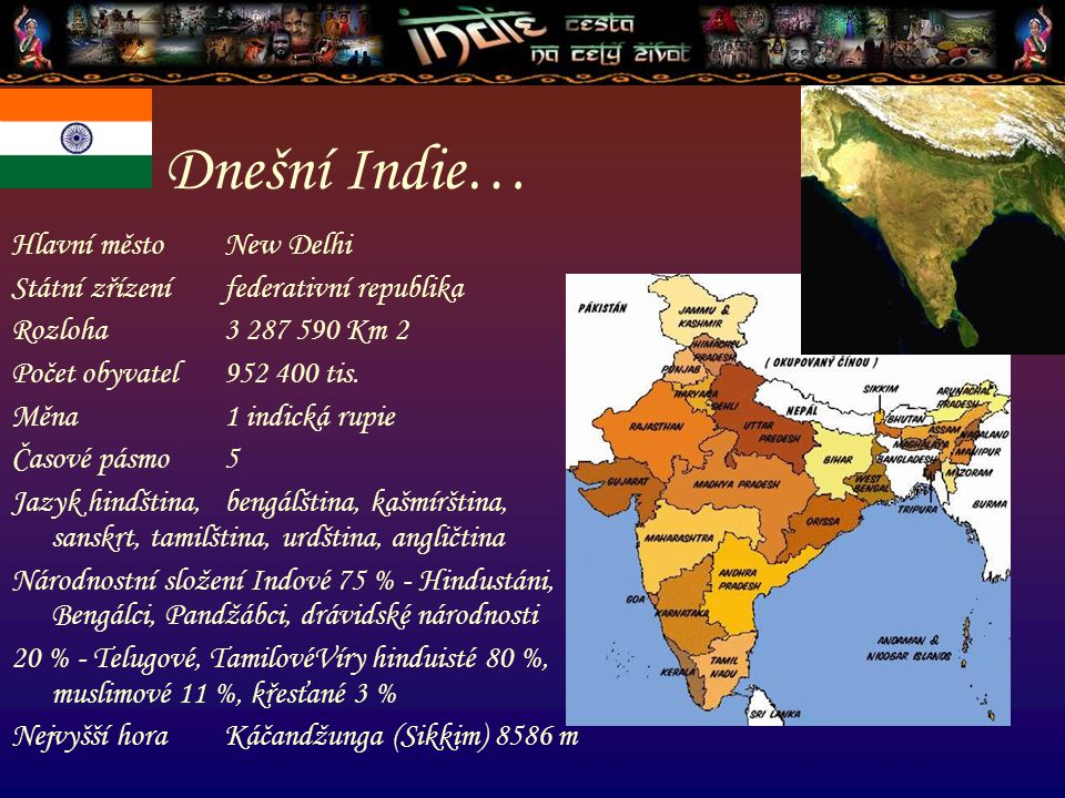Hlavní město New Delhi Státní zřízení federativní republika Rozloha 3 287 590 Km 2 Počet obyvatel 952 400 tis. Měna 1 indická rupie Časové pásmo 5 Jaz