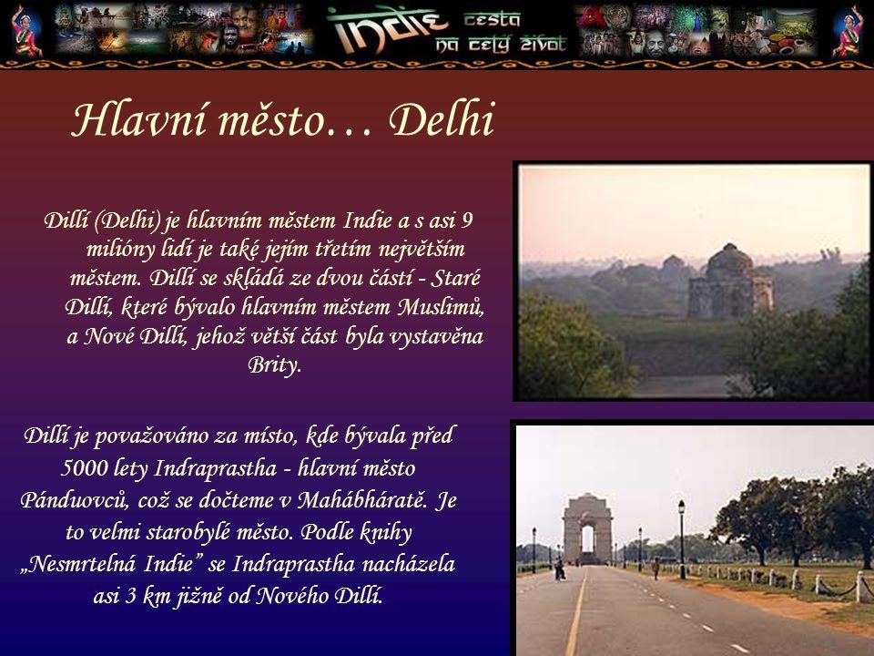 Hlavní město… Delhi Dillí (Delhi) je hlavním městem Indie a s asi 9 milióny lidí je také jejím třetím největším městem. Dillí se skládá ze dvou částí