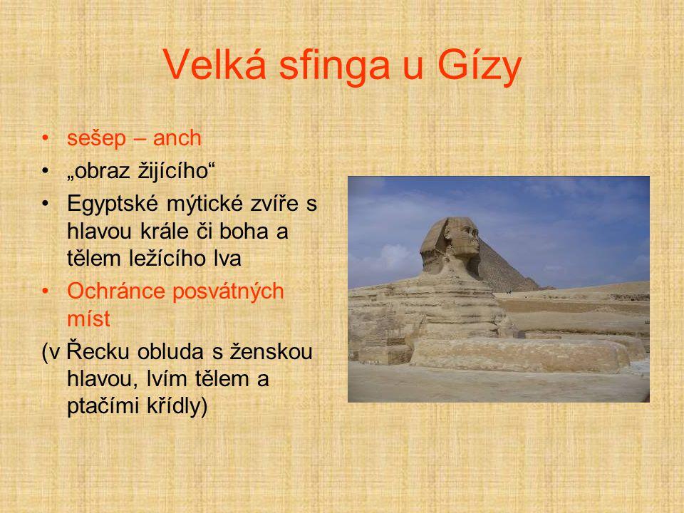 """Velká sfinga u Gízy sešep – anch """"obraz žijícího Egyptské mýtické zvíře s hlavou krále či boha a tělem ležícího lva Ochránce posvátných míst (v Řecku obluda s ženskou hlavou, lvím tělem a ptačími křídly)"""