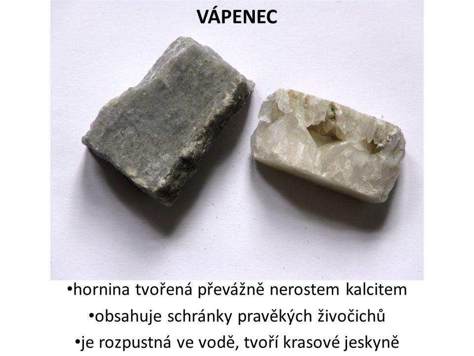 VÁPENEC hornina tvořená převážně nerostem kalcitem obsahuje schránky pravěkých živočichů je rozpustná ve vodě, tvoří krasové jeskyně