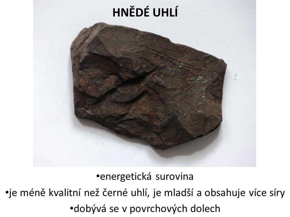 HNĚDÉ UHLÍ energetická surovina je méně kvalitní než černé uhlí, je mladší a obsahuje více síry dobývá se v povrchových dolech