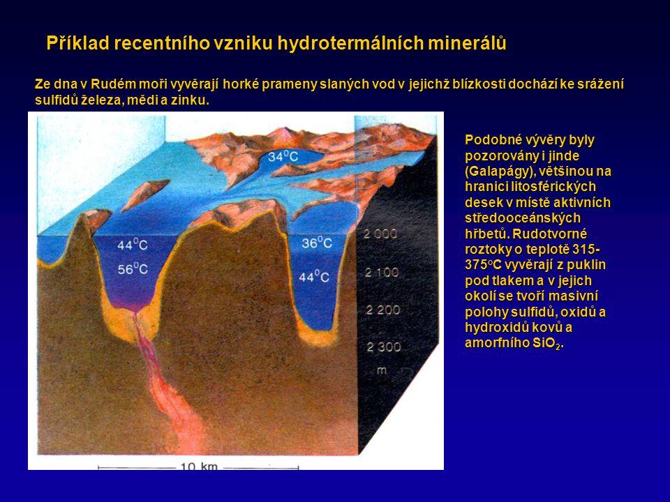 Příklad recentního vzniku hydrotermálních minerálů Ze dna v Rudém moři vyvěrají horké prameny slaných vod v jejichž blízkosti dochází ke srážení sulfidů železa, mědi a zinku.