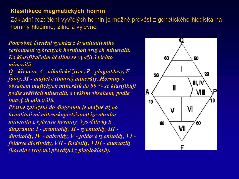 Klasifikace magmatických hornin Základní rozdělení vyvřelých hornin je možné provést z genetického hlediska na horniny hlubinné, žilné a výlevné.