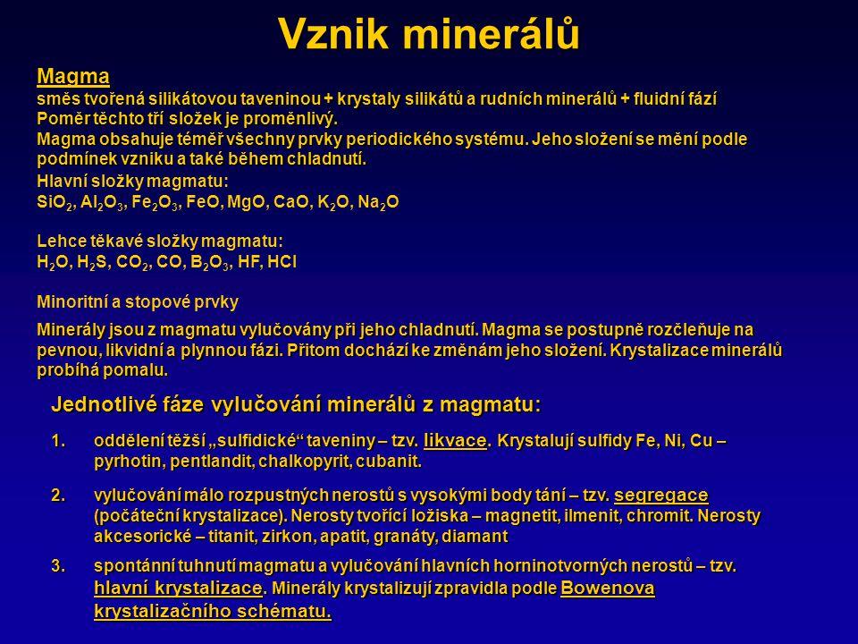 Vznik minerálů Minerály jsou z magmatu vylučovány při jeho chladnutí.
