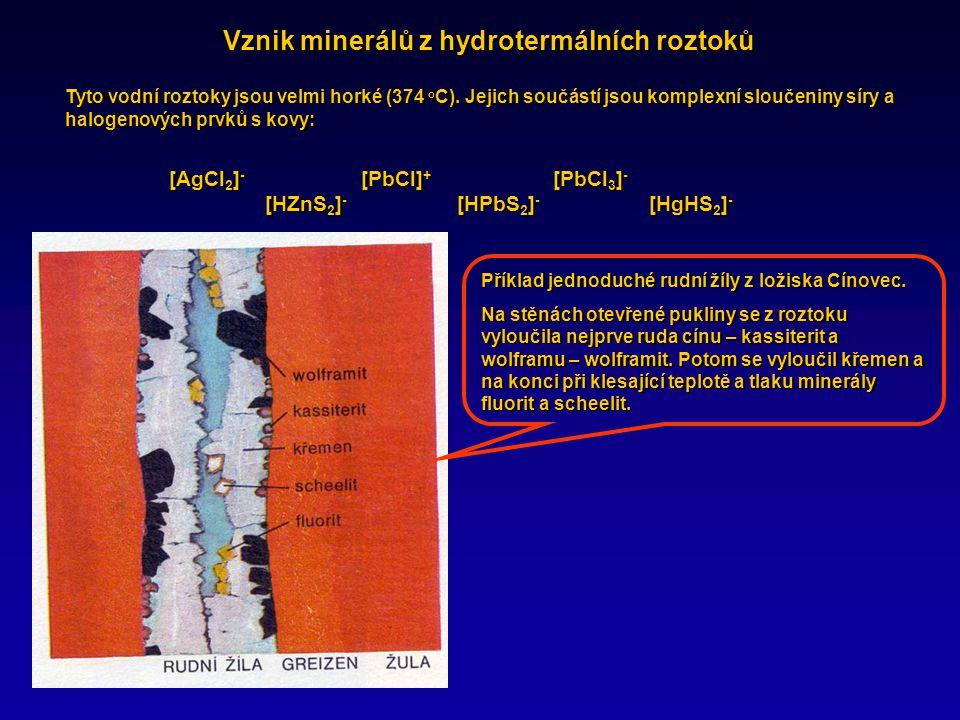Vznik minerálů z hydrotermálních roztoků Tyto vodní roztoky jsou velmi horké (374 o C).