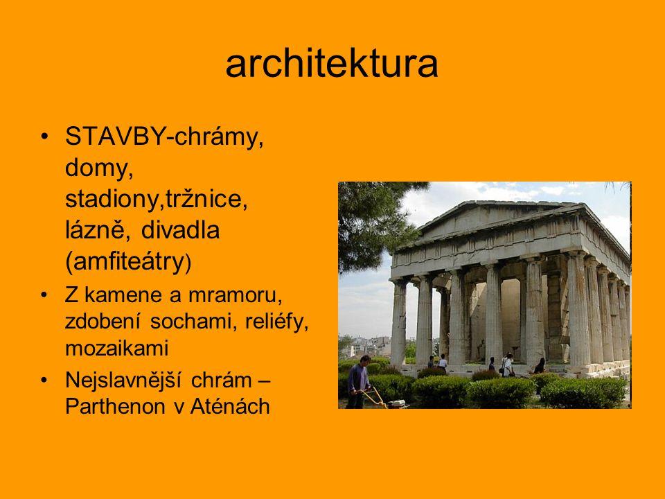 architektura STAVBY-chrámy, domy, stadiony,tržnice, lázně, divadla (amfiteátry ) Z kamene a mramoru, zdobení sochami, reliéfy, mozaikami Nejslavnější chrám – Parthenon v Aténách