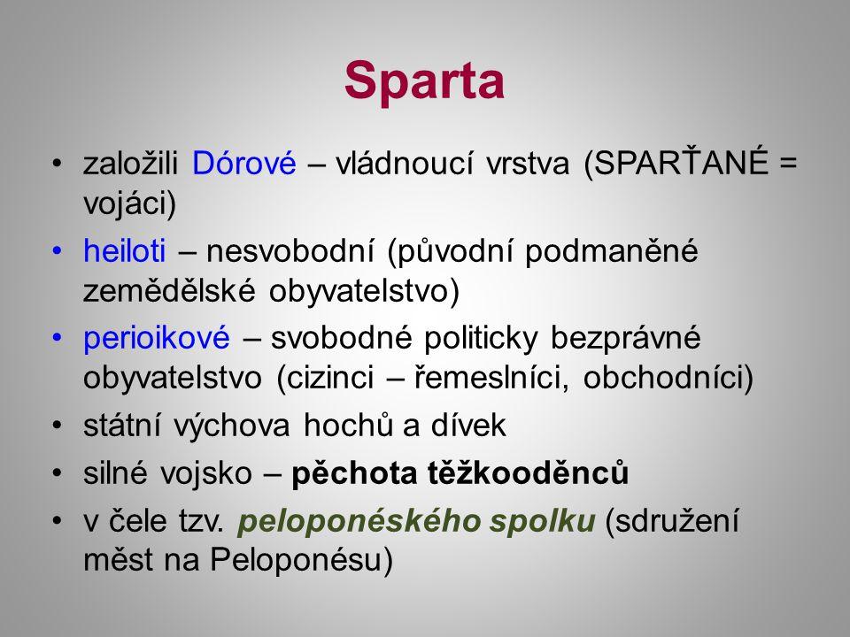 Sparta založili Dórové – vládnoucí vrstva (SPARŤANÉ = vojáci) heiloti – nesvobodní (původní podmaněné zemědělské obyvatelstvo) perioikové – svobodné p