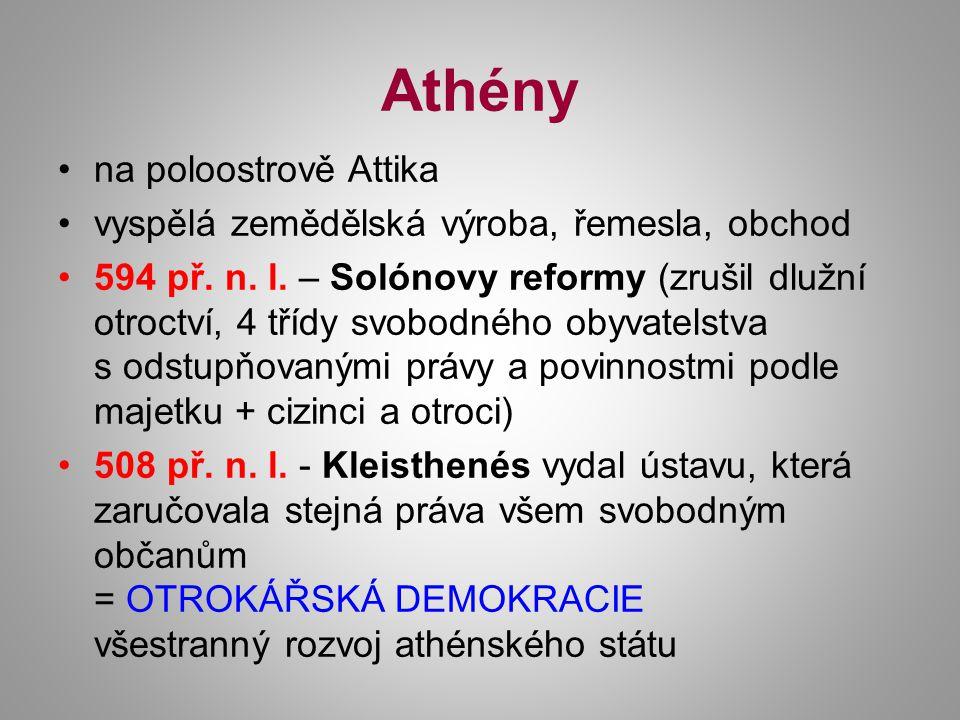 Athény na poloostrově Attika vyspělá zemědělská výroba, řemesla, obchod 594 př. n. l. – Solónovy reformy (zrušil dlužní otroctví, 4 třídy svobodného o