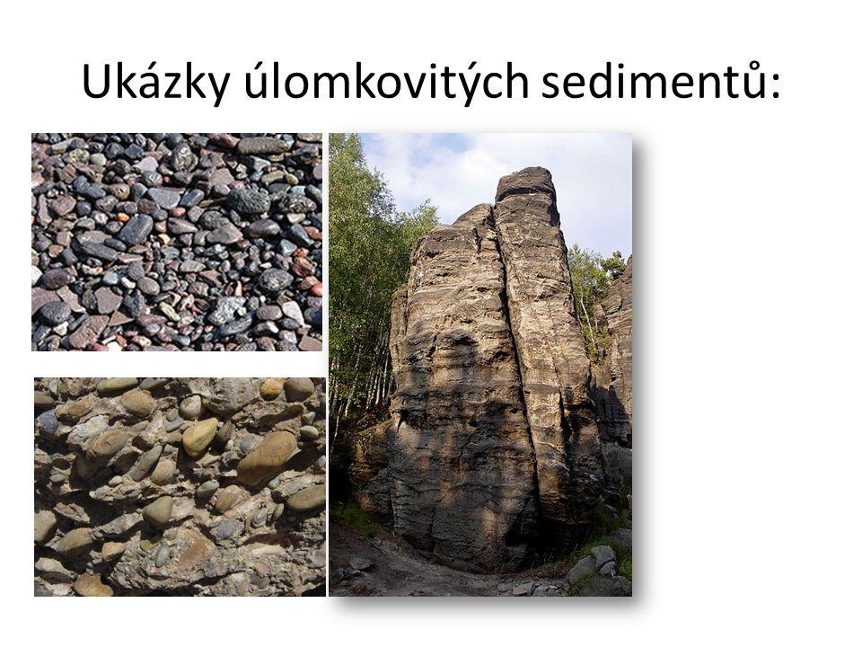 Ukázky úlomkovitých sedimentů:
