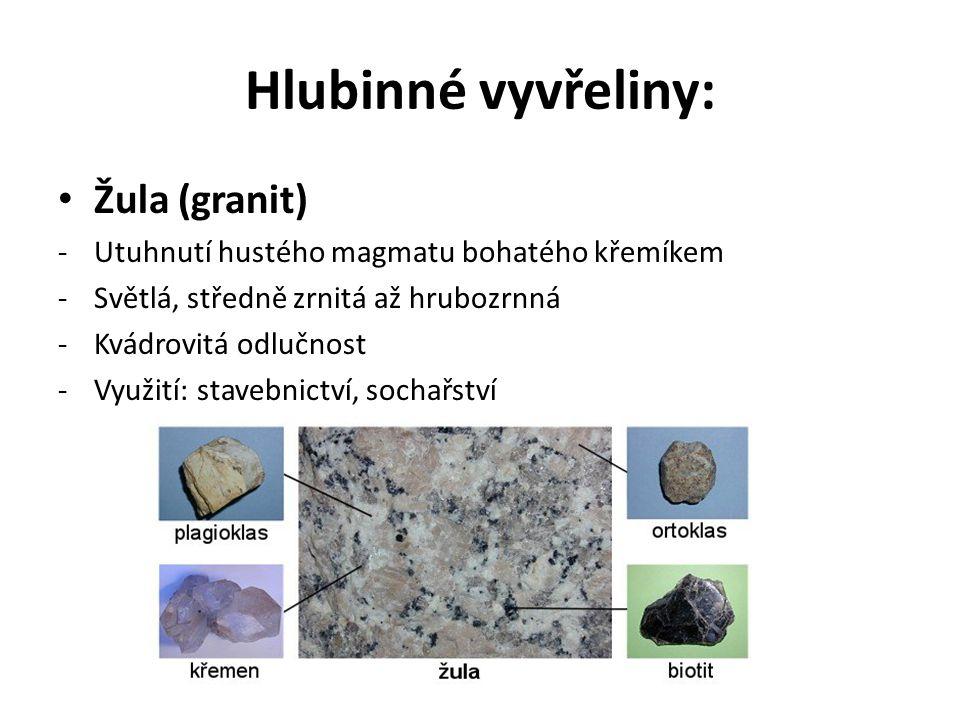 Hlubinné vyvřeliny: Žula (granit) -Utuhnutí hustého magmatu bohatého křemíkem -Světlá, středně zrnitá až hrubozrnná -Kvádrovitá odlučnost -Využití: stavebnictví, sochařství