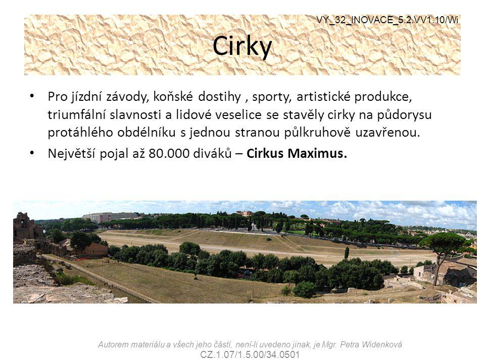Cirky VY_32_INOVACE_5.2.VV1.10/Wi Autorem materiálu a všech jeho částí, není-li uvedeno jinak, je Mgr. Petra Widenková CZ.1.07/1.5.00/34.0501 Pro jízd