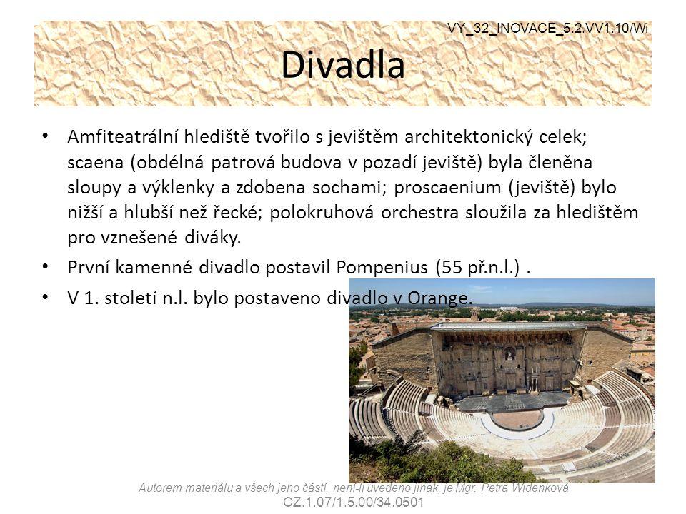 Divadla VY_32_INOVACE_5.2.VV1.10/Wi Autorem materiálu a všech jeho částí, není-li uvedeno jinak, je Mgr. Petra Widenková CZ.1.07/1.5.00/34.0501 Amfite
