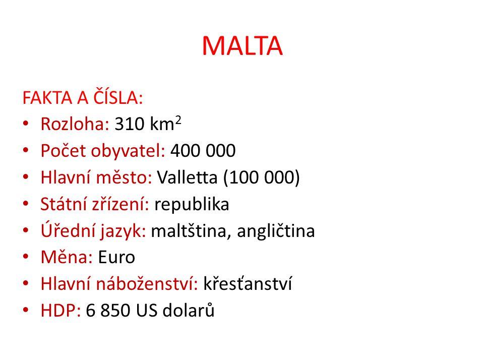 MALTA FAKTA A ČÍSLA: Rozloha: 310 km 2 Počet obyvatel: 400 000 Hlavní město: Valletta (100 000) Státní zřízení: republika Úřední jazyk: maltština, ang