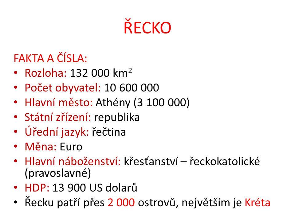 ŘECKO FAKTA A ČÍSLA: Rozloha: 132 000 km 2 Počet obyvatel: 10 600 000 Hlavní město: Athény (3 100 000) Státní zřízení: republika Úřední jazyk: řečtina