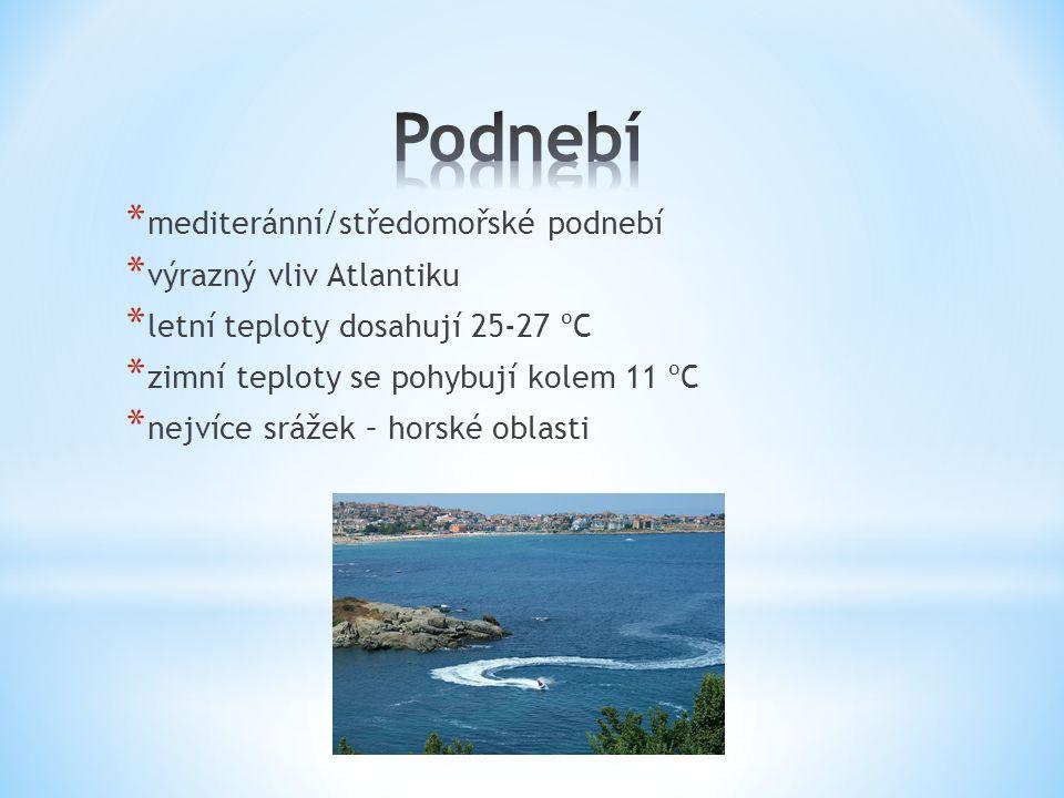 * mediteránní/středomořské podnebí * výrazný vliv Atlantiku * letní teploty dosahují 25-27 ºC * zimní teploty se pohybují kolem 11 ºC * nejvíce srážek