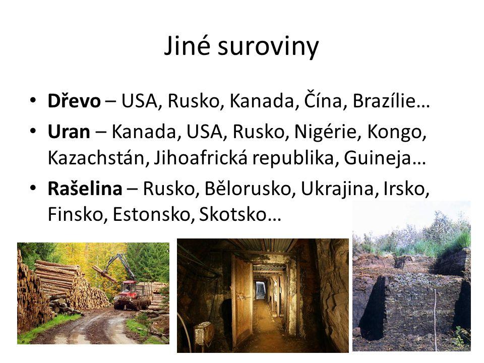 Jiné suroviny Dřevo – USA, Rusko, Kanada, Čína, Brazílie… Uran – Kanada, USA, Rusko, Nigérie, Kongo, Kazachstán, Jihoafrická republika, Guineja… Rašel