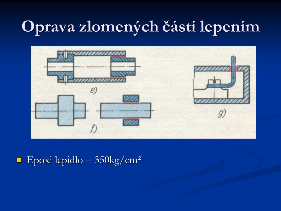 Oprava zlomených částí lepením Epoxi lepidlo – 350kg/cm²