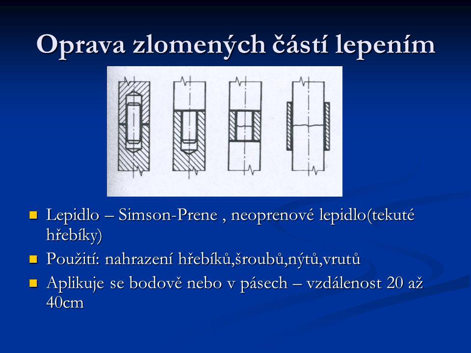 Oprava zlomených částí lepením Lepidlo – Simson-Prene, neoprenové lepidlo(tekuté hřebíky) Použití: nahrazení hřebíků,šroubů,nýtů,vrutů Aplikuje se bodově nebo v pásech – vzdálenost 20 až 40cm