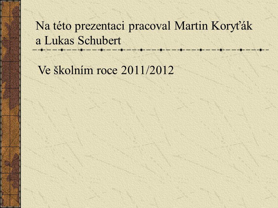 Na této prezentaci pracoval Martin Koryťák a Lukas Schubert Ve školním roce 2011/2012