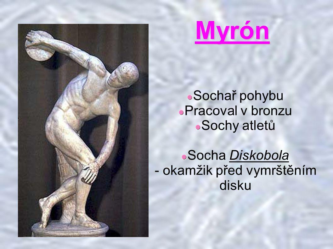 Myrón Sochař pohybu Pracoval v bronzu Sochy atletů Socha Diskobola - okamžik před vymrštěním disku