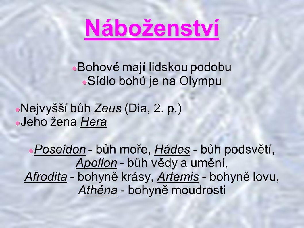 Náboženství Bohové mají lidskou podobu Sídlo bohů je na Olympu Nejvyšší bůh Zeus (Dia, 2.