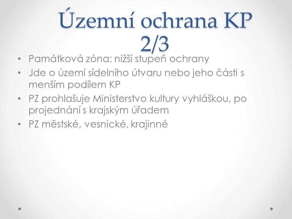 Územní ochrana KP 2/3 Památková zóna: nižší stupeň ochrany Jde o území sídelního útvaru nebo jeho části s menším podílem KP PZ prohlašuje Ministerstvo