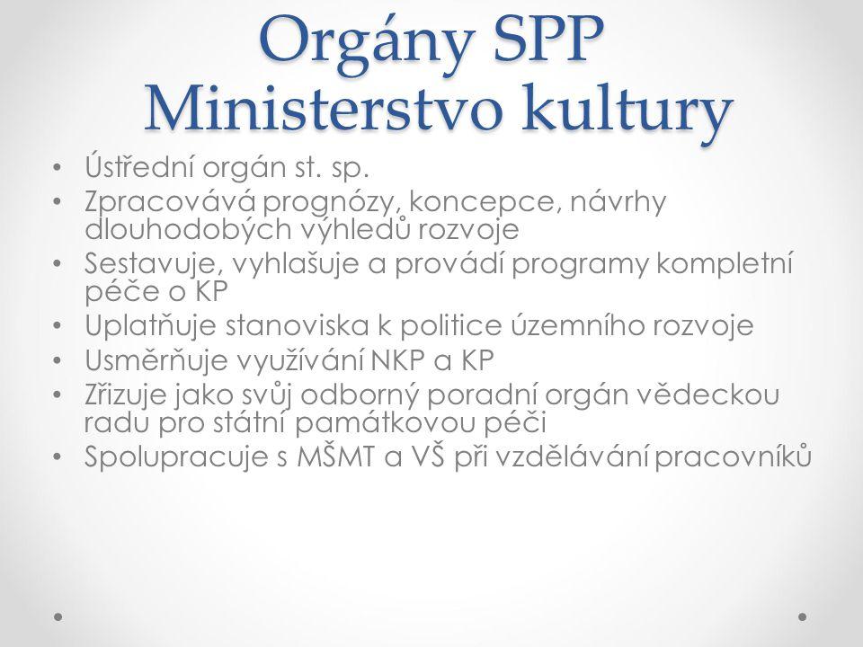 Orgány SPP Ministerstvo kultury Ústřední orgán st. sp. Zpracovává prognózy, koncepce, návrhy dlouhodobých výhledů rozvoje Sestavuje, vyhlašuje a prová