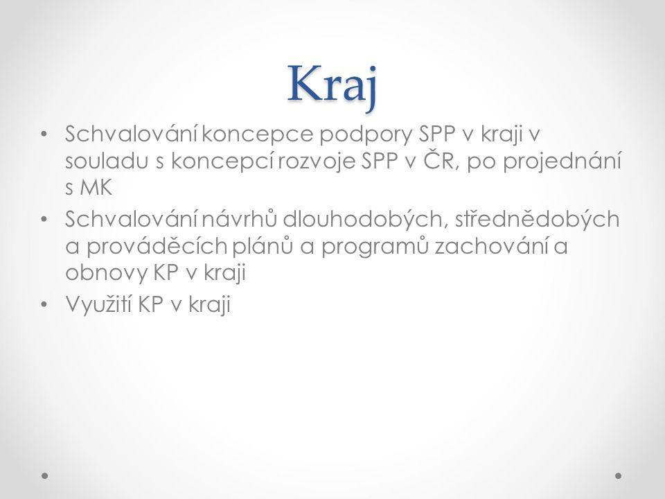 Kraj Schvalování koncepce podpory SPP v kraji v souladu s koncepcí rozvoje SPP v ČR, po projednání s MK Schvalování návrhů dlouhodobých, střednědobých
