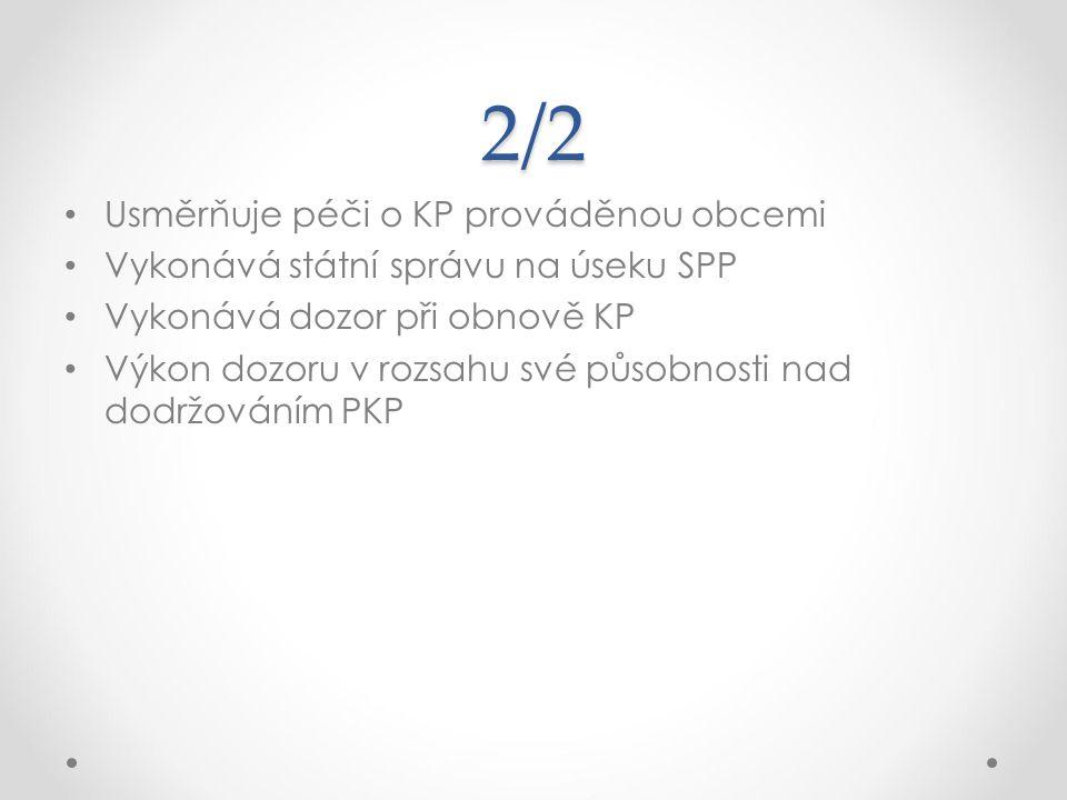 2/2 Usměrňuje péči o KP prováděnou obcemi Vykonává státní správu na úseku SPP Vykonává dozor při obnově KP Výkon dozoru v rozsahu své působnosti nad d