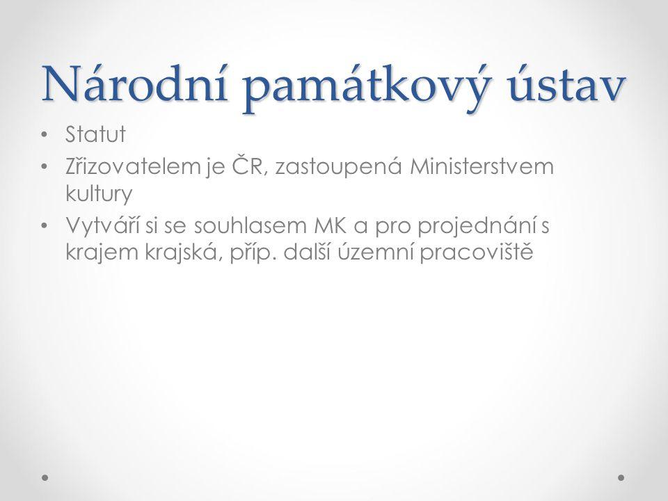 Statut Zřizovatelem je ČR, zastoupená Ministerstvem kultury Vytváří si se souhlasem MK a pro projednání s krajem krajská, příp. další územní pracovišt