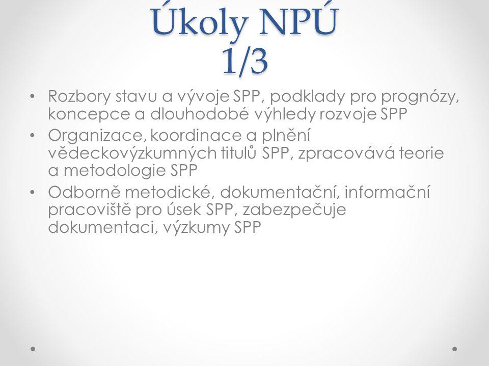 Úkoly NPÚ 1/3 Rozbory stavu a vývoje SPP, podklady pro prognózy, koncepce a dlouhodobé výhledy rozvoje SPP Organizace, koordinace a plnění vědeckovýzk
