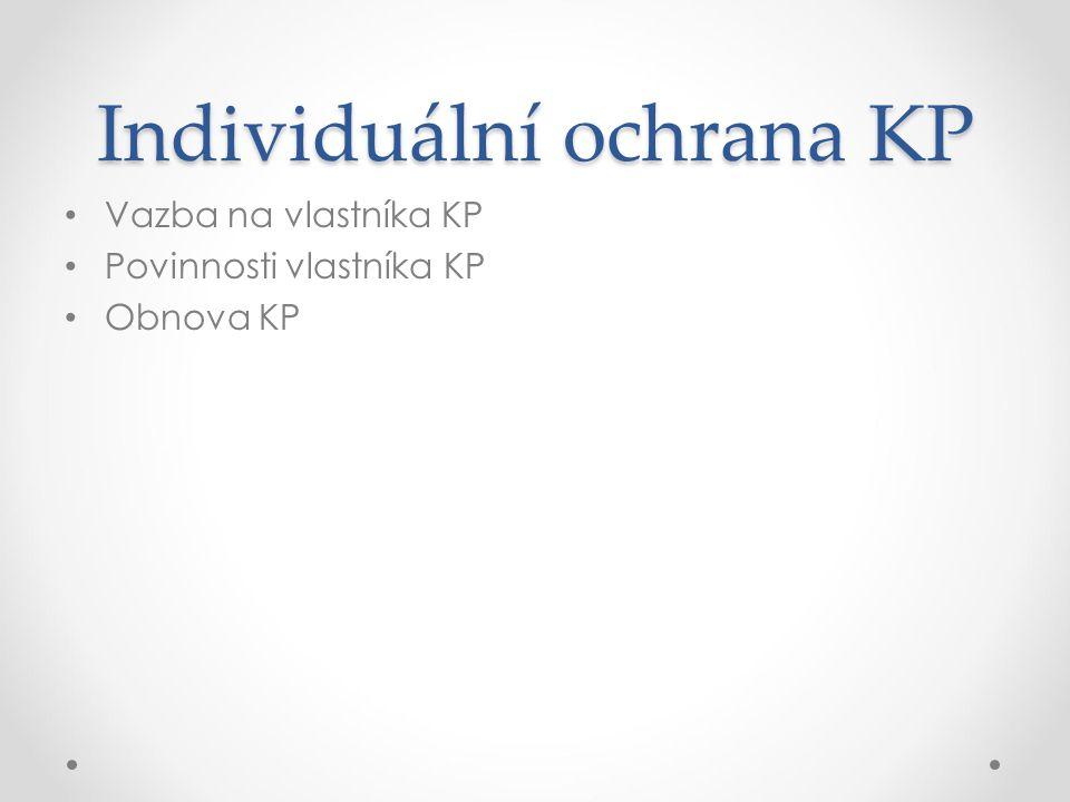 Individuální ochrana KP Vazba na vlastníka KP Povinnosti vlastníka KP Obnova KP