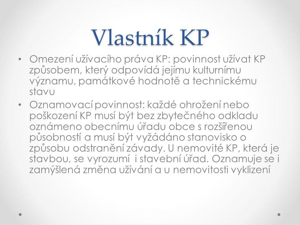 Vlastník KP Omezení užívacího práva KP: povinnost užívat KP způsobem, který odpovídá jejímu kulturnímu významu, památkové hodnotě a technickému stavu