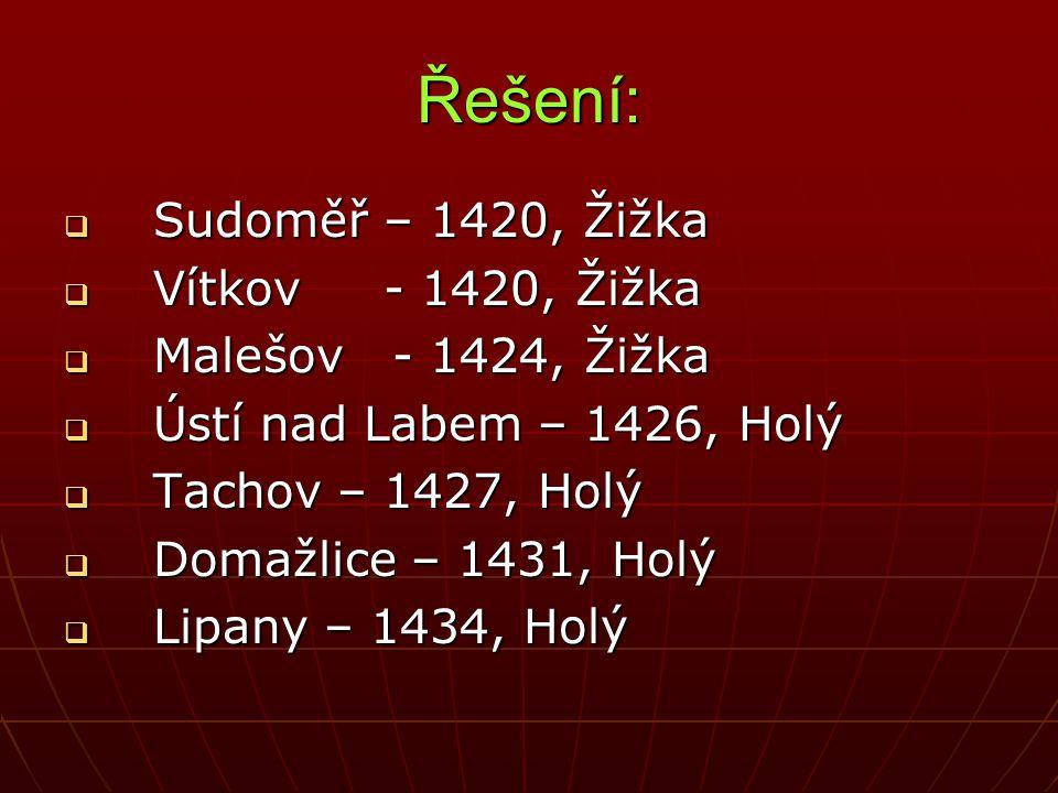 Řešení:  Sudoměř – 1420, Žižka  Vítkov - 1420, Žižka  Malešov - 1424, Žižka  Ústí nad Labem – 1426, Holý  Tachov – 1427, Holý  Domažlice – 1431,