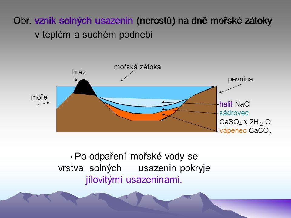 Obr. vznik solných usazenin (nerostů) na dně mořské zátoky hráz mořská zátoka pevnina moře halit NaCl sádrovec CaSO 4 x 2H ¨2 O vápenec CaCO 3 Obr. vz