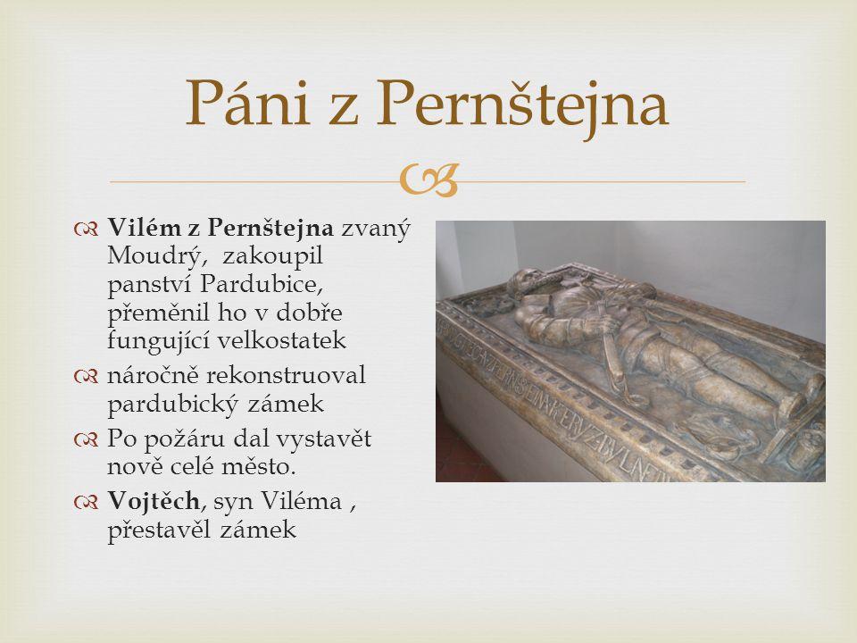  Páni z Pernštejna  Vilém z Pernštejna zvaný Moudrý, zakoupil panství Pardubice, přeměnil ho v dobře fungující velkostatek  náročně rekonstruoval pardubický zámek  Po požáru dal vystavět nově celé město.
