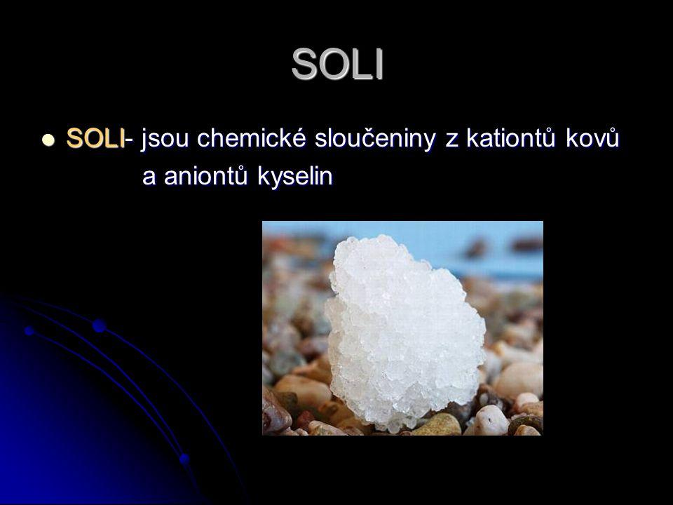 SOLI SOLI- jsou chemické sloučeniny z kationtů kovů SOLI- jsou chemické sloučeniny z kationtů kovů a aniontů kyselin a aniontů kyselin