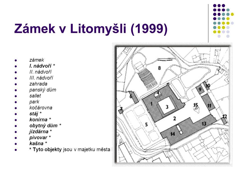 Zámek v Litomyšli (1999) zámek I. nádvoří * II. nádvoří III. nádvoří zahrada panský dům sallet park kočárovna stáj * konírna * obytný dům * jízdárna *