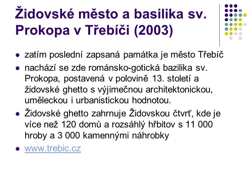 Židovské město a basilika sv. Prokopa v Třebíči (2003) zatím poslední zapsaná památka je město Třebíč nachází se zde románsko-gotická bazilika sv. Pro