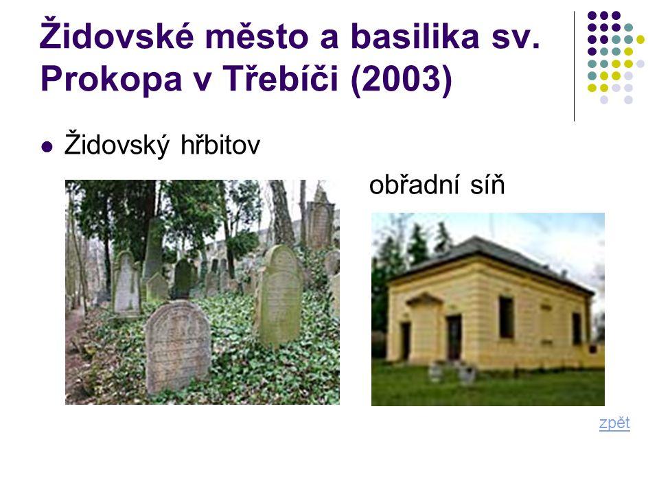Židovské město a basilika sv. Prokopa v Třebíči (2003) zpět Židovský hřbitov obřadní síň