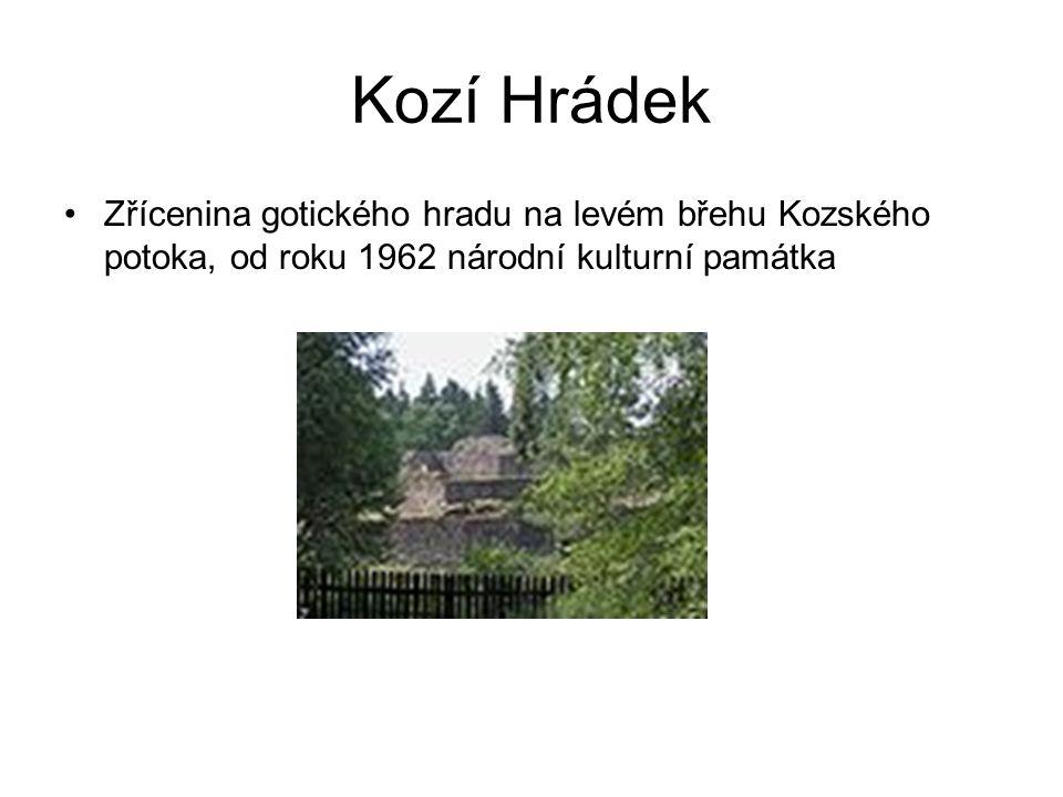 Kozí Hrádek Zřícenina gotického hradu na levém břehu Kozského potoka, od roku 1962 národní kulturní památka