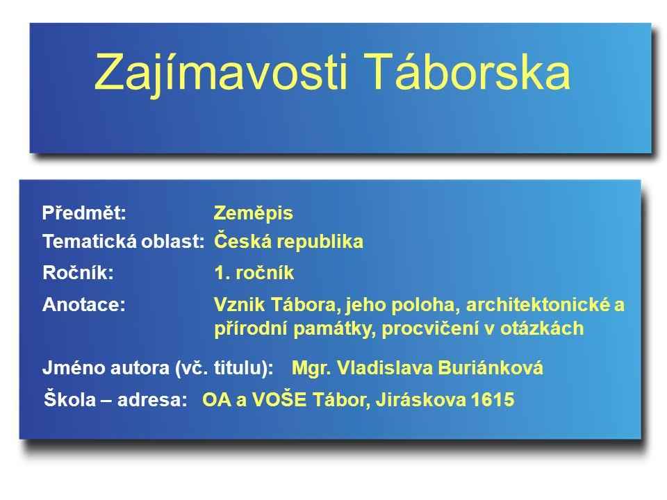 Zajímavosti Táborska Jméno autora (vč.titulu): Škola – adresa: Ročník: Předmět: Anotace: 1.