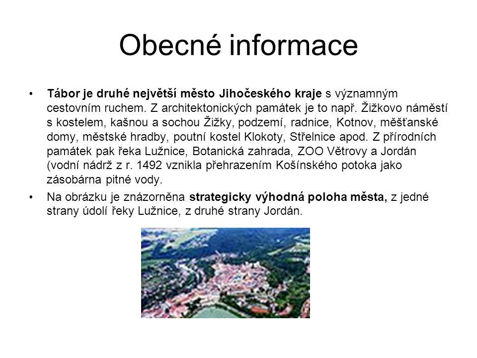 Obecné informace Tábor je druhé největší město Jihočeského kraje s významným cestovním ruchem.