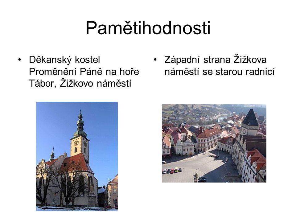 Pamětihodnosti Děkanský kostel Proměnění Páně na hoře Tábor, Žižkovo náměstí Západní strana Žižkova náměstí se starou radnicí