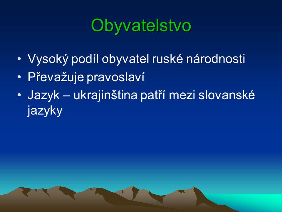 Obyvatelstvo Vysoký podíl obyvatel ruské národnosti Převažuje pravoslaví Jazyk – ukrajinština patří mezi slovanské jazyky